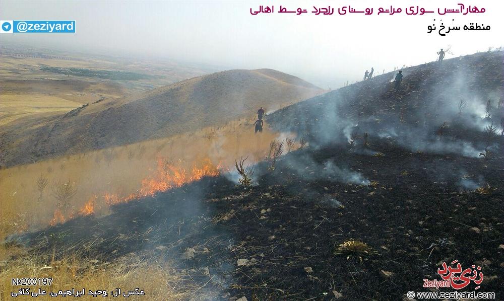 مهار آتش سوزی در مراتع روستای رزجرد توسط اهالی، عکس 3