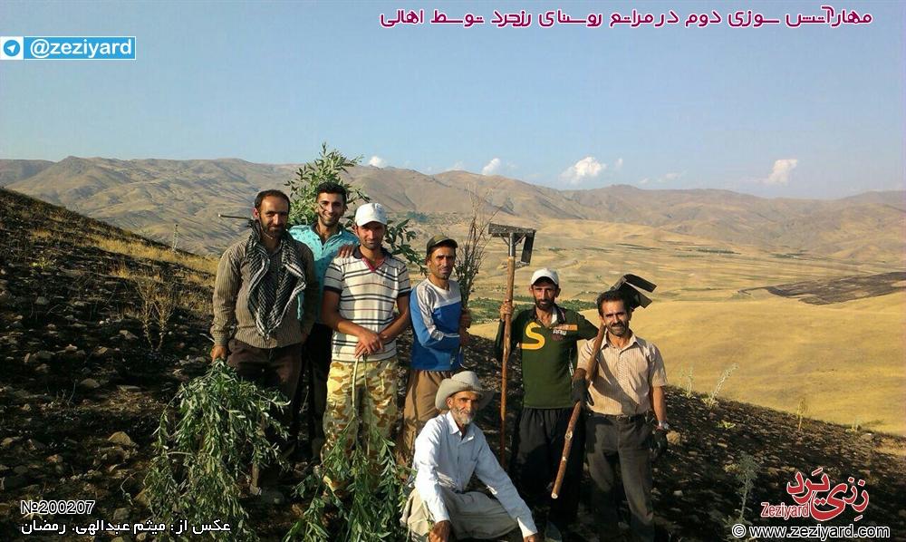 مهار آتش سوزی 12 مرداد ماه در مراتع روستای رزجرد توسط اهالی، عکس 2